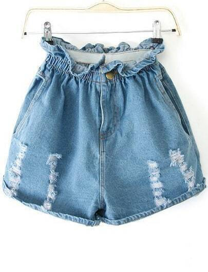 Blue Elastic Waist Ripped Denim Shorts