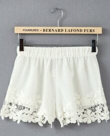 White Elastic Waist Floral Crochet Shorts