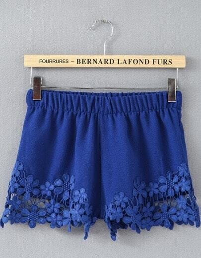 Blue Elastic Waist Floral Crochet Shorts