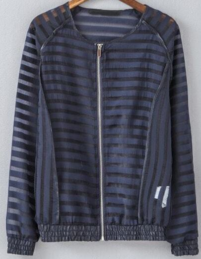 Black Long Sleeve Striped Sheer Jacket