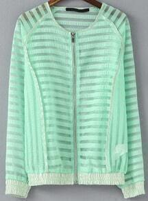 Green Long Sleeve Striped Sheer Jacket