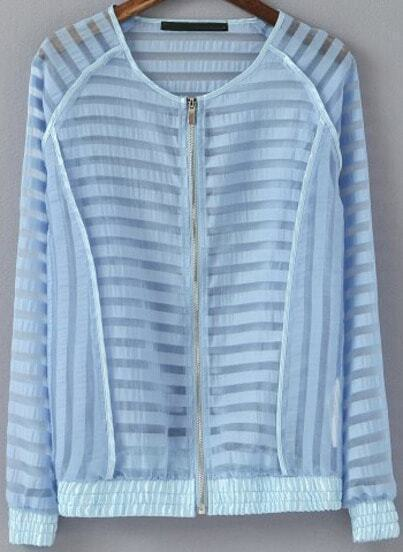 Blue Long Sleeve Striped Sheer Jacket