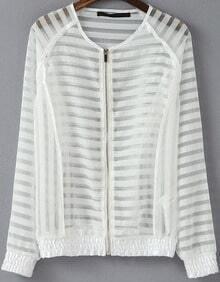 White Long Sleeve Striped Sheer Jacket