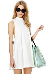 White Stand Collar Sleeveless Loose Dress
