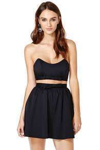 Black Strapless Backless Bow Flare Dress