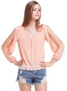 Pink Split Sleeve Lace Loose Blouse