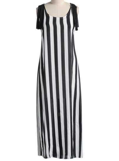 Black White Sleeveless Vertical Stripe Tassel Dress