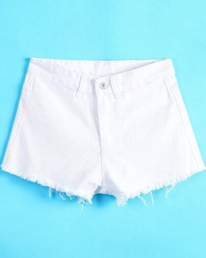 White Fringe Button Denim Shorts