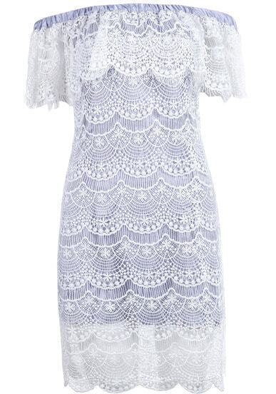 Blue Off the Shoulder Embroidered Lace Dress