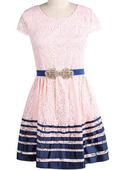 Pink Short Sleeve Striped Lace Dress