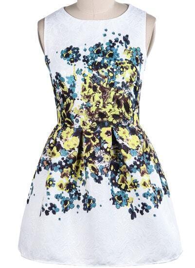 White Sleeveless Vintage Yellow Floral Slim Dress