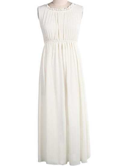 Apricot Sleeveless Backless Pleated Chiffon Dress