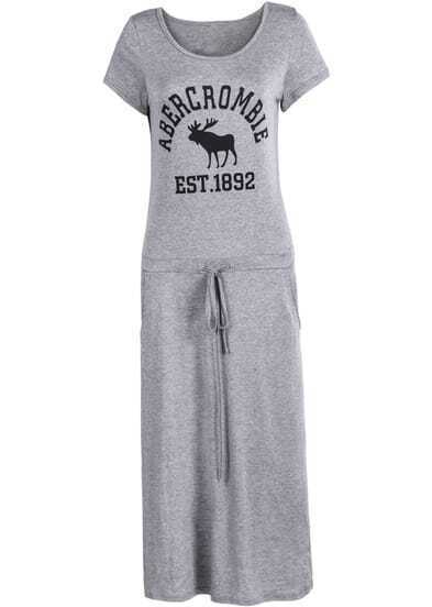 Grey Short Sleeve Letters Print Drawstring Dress