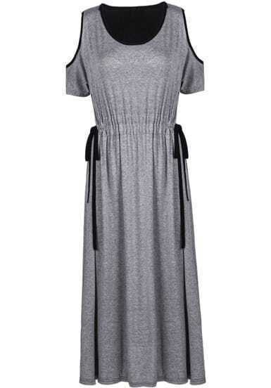 Grey Black Off the Shoulder Drawstring Dress