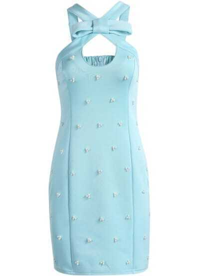 Blue Sleeveless Bead Bow Embellished Dress