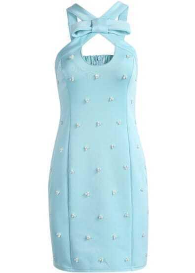 Blue Sleeveless Bead Bow Embellished Dress