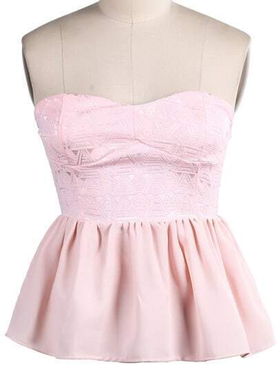 Pink Strapless Embroidered Pleated Vest