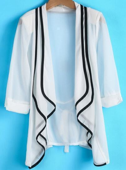 White Double Layers Collar Contrast Trims Blazer