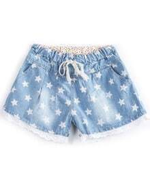 Blue Drawstring Waist Stars Print Denim Shorts