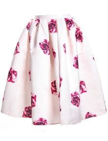 Apricot Rose Print Pleated Skirt