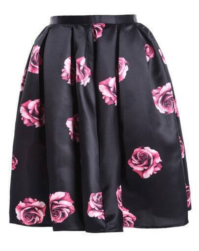 Black Rose Print Pleated Skirt