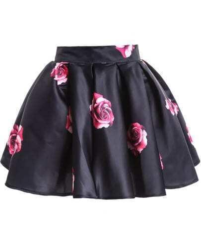 Black Rose Print Flare Skirt