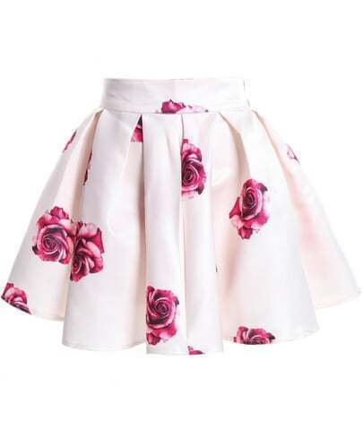 Apricot Rose Print Flare Skirt