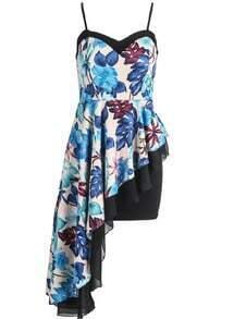Blue Spaghetti Strap Floral Asymmetrical Ruffle Dress