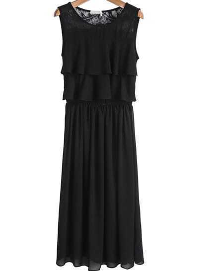 Black Contrast Lace Cascading Ruffle Chiffon Dress