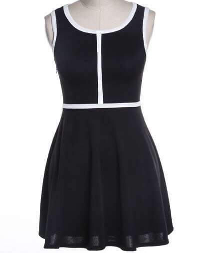 Black Sleeveless Contrast Trims Pleated Dress