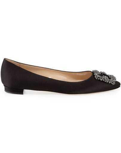 Black Rhinestone Embellished Low Heel Shoes