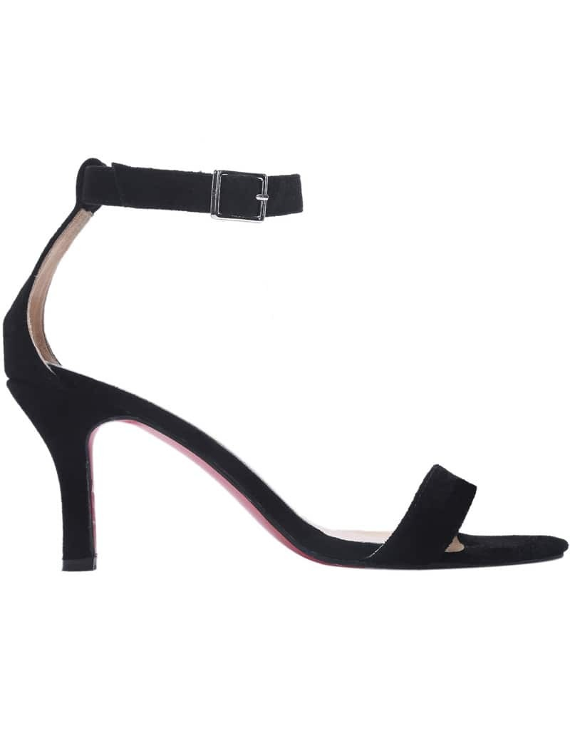 Black Ankle Strap Suede High Heeled Shoes -SheIn(Sheinside)