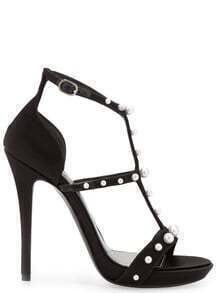 Black Rhinestone High Heel Sandals -SheIn(Sheinside)