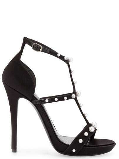 Black Rhinestone High Heel Sandals