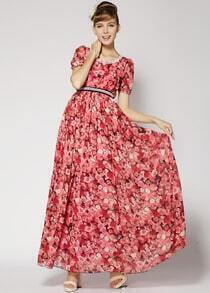 Red Short Sleeve Floral Pleated Full Length Dress