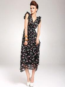 Black V Neck Sleeveless Cherry Print Chiffon Dress