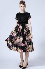 Black Short Sleeve Floral Belt Chiffon Dress