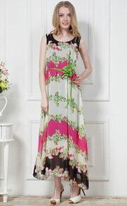 Red Sleeveless Floral Full Length Tank Dress
