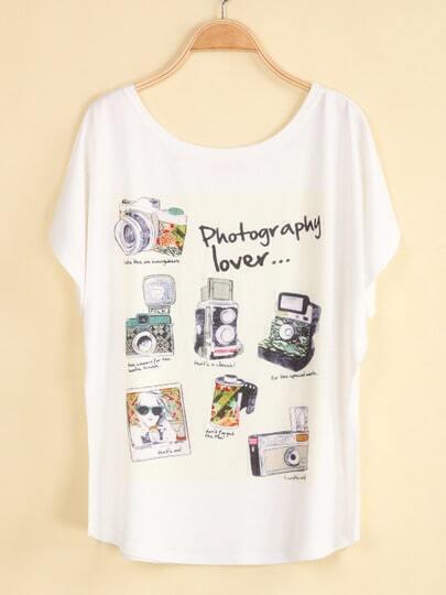White Short Sleeve Camera Print Loose T-Shirt