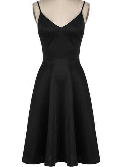 Black Spaghetti Strap V Neck Pleated Dress