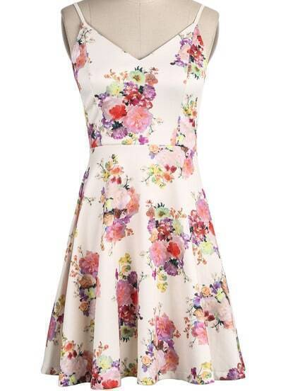 Apricot Spaghetti Strap V Neck Floral Pleated Dress