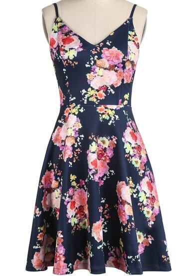 Navy Spaghetti Strap V Neck Floral Pleated Dress