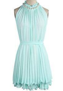 Green Sleeveless Off the Shoulder Pleated Dress