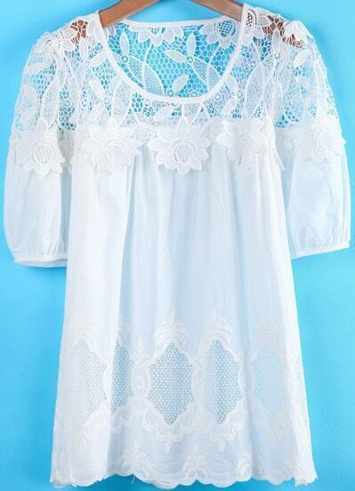 White Short Sleeve Lace Embroidered Loose Dress