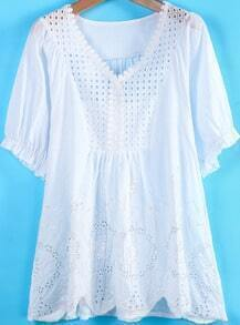 White V Neck Short Sleeve Hollow Loose Dress