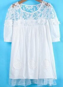 White Short Sleeve Lace Embroidered Organza Dress