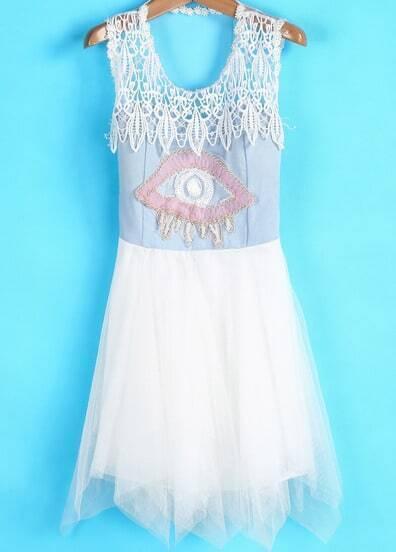 Apricot Sleeveless Eye Bead Flare Gauze Dress