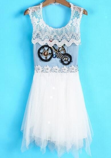 Apricot Sleeveless Bicycle Bead Flare Gauze Dress