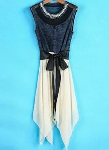 Apricot Contrast Denim Bead Chiffon Dress