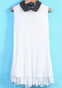 White Contrast Polka Dot Collar Pleated Dress